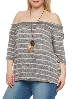 Plus Size Striped Off the Shoulder Sweater with Necklace - 1912058758352