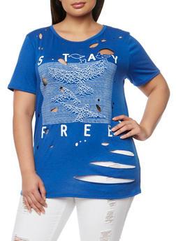 Plus Size Stay Free Graphic Lasercut T Shirt - 1912058758472