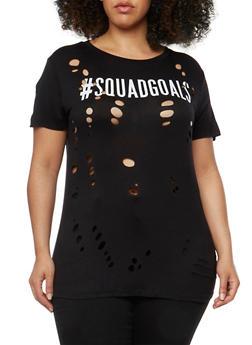 Plus Size Lasercut Squad Goals Graphic T Shirt - BLACK - 1912058758749
