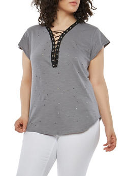 Plus Size Distressed Lace Up T Shirt - GRAY - 1912058759264