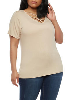 Plus Size Caged Neck Top - 1912058759273
