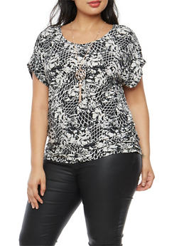 Plus Size Printed Top with Necklace - BLACK-IVORY - 1912058759401