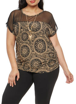 Plus Size Mesh Yoke Printed Top with Necklace - 1912058759405