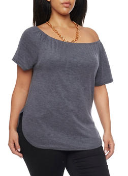 Plus Size Off the Shoulder Knit Top with Necklace - 1912058930061
