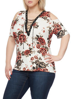 Plus Size Lace Up Floral Cold Shoulder Top - 1912058930402