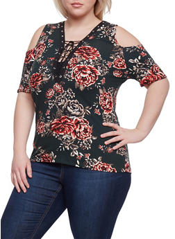 Plus Size Lace Up Floral Cold Shoulder Top - MINT   60402 PRT - 1912058930402