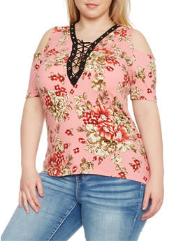Plus Size Lace Up Floral Cold Shoulder Top - FUCHSIA  8063 - 1912058930402