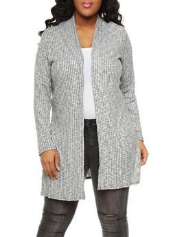 Plus Size Marled Rib Knit Shawl Collar Cardigan with Side Slits,HEATHER  GREY,medium