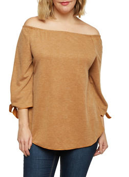 Plus Size Off the Shoulder Top with Tied Sleeves - MUSTARD - 1912058930700