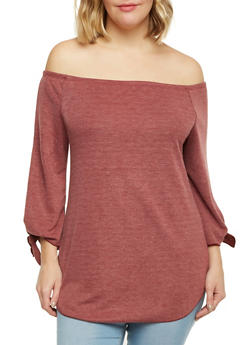 Plus Size Off the Shoulder Top with Tied Sleeves - BURGUNDY - 1912058930700