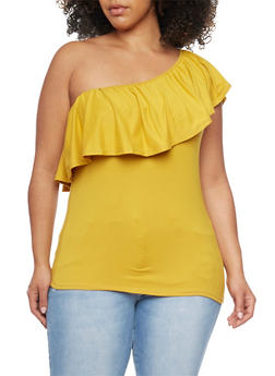 Plus Size One Shoulder RuffleTop - MUSTARD - 1912058930702