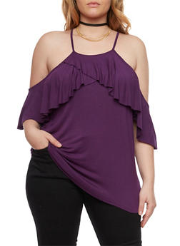 Plus Size Off the Shoulder Top with Ruffle Panel - 1912058930707