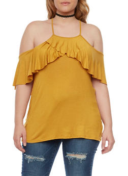 Plus Size Off the Shoulder Top with Ruffle Panel - MUSTARD - 1912058930707