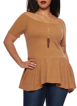 Plus Size Off The Shoulder Peplum Top with Tassel Necklace - MUSTARD - 1912058930709