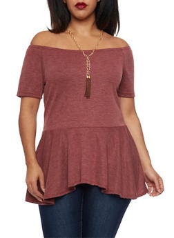 Plus Size Off The Shoulder Peplum Top with Tassel Necklace - BURGUNDY - 1912058930709