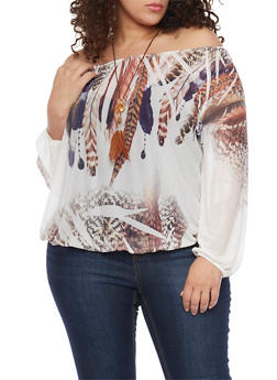 Plus Size Off the Shoulder Feather Mesh Top with Necklace - 1912058930713