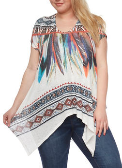 Plus Size Feather Print Asymmetrical Top - 1912058930715