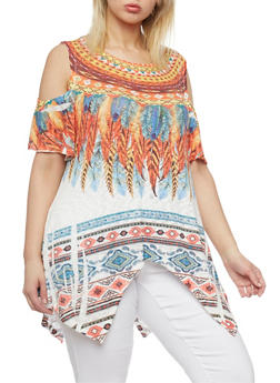 Plus Size Feather Print Cold Shoulder Sharkbite Top - 1912058930716