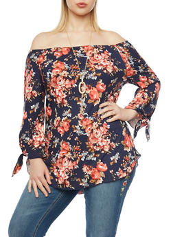 Plus Size Off the Shoulder Top in Floral Print with Necklace - 1912058930750
