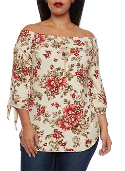 Plus Size Off the Shoulder Top with Floral Print and Necklace - 1912058930752