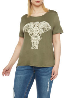 Plus Size Scoop Neck Top with Elephant Graphic - 1912058930757