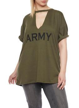 Plus Size Cutout Army Print T Shirt - 1912058930760