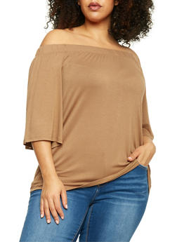 Plus Size 3/4 Sleeve Off the Shoulder Top - 1912058930830