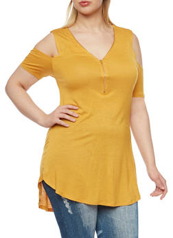 Plus Size Cold Shoulder Tunic Top with Zip Neck - MUSTARD - 1912058930905