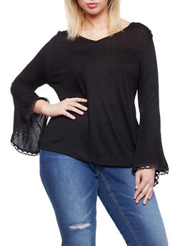 Plus Size V Neck Top with Crochet Bell Sleeves - 1912058930936