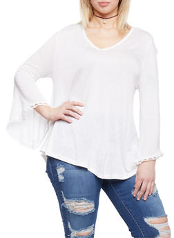 Plus Size V Neck Top with Crochet Bell Sleeves - WHITE - 1912058930936