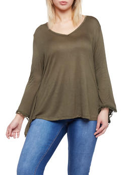 Plus Size V Neck Top with Crochet Bell Sleeves - OLIVE - 1912058930936