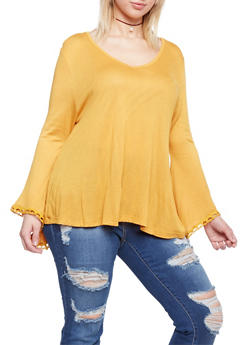 Plus Size V Neck Top with Crochet Bell Sleeves - MUSTARD - 1912058930936