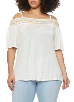 Plus Size Smocked Off the Shoulder Peasant Top - IVORY - 1912058931136