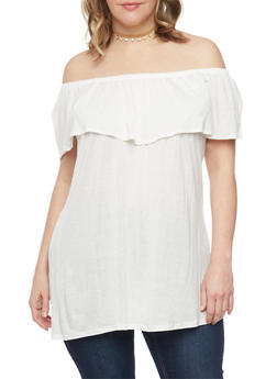 Plus Size Ruffled Off the Shoulder Tunic Top - 1912058931236