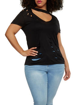 Plus Size Distressed Choker V Neck Top - 1912058931283