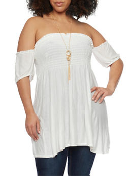 Plus Size Smocked Off the Shoulder Tunic Top with Necklace - 1912058931336