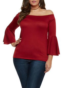 Plus Size Off The Shoulder Top with Bell Sleeves - 1912058932018