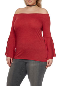 Plus Size Off the Shoulder Top with Flared Sleeves - 1912058932019