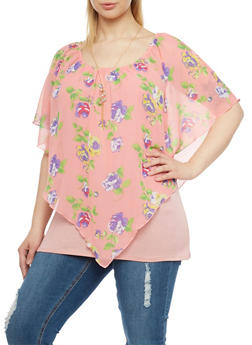 Plus Size Floral Print Envelope Hem Top with Necklace - 1912058932020