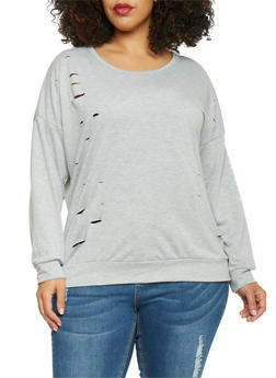 Plus Size Distressed French Terry Long Sleeve Top - 1912058932022