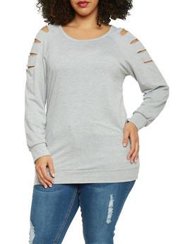 Plus Size Slashed Long Sleeve Top - 1912058932023