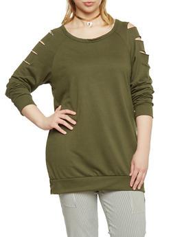 Plus Size Slashed Long Sleeve Top - OLIVE - 1912058932023