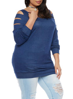 Plus Size Slashed Long Sleeve Top - 1912058932023