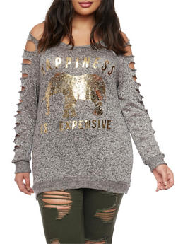 Plus Size Slashed Long Sleeve Graphic Top - 1912058932024