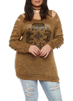 Plus Size Foil Screen Elephant Circle Graphic Top - MUSTARD - 1912058932025