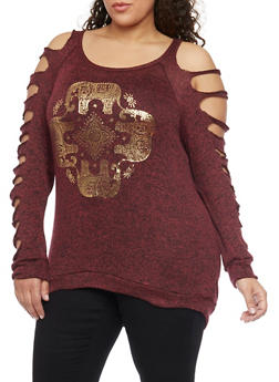 Plus Size Foil Screen Elephant Circle Graphic Top - BURGUNDY - 1912058932025