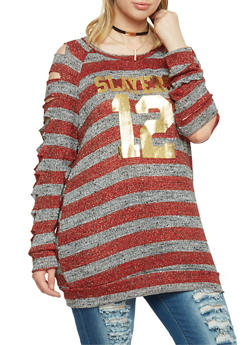 Plus Size Striped Slayers Graphic Top with Slashed Sleeves - 1912058932026
