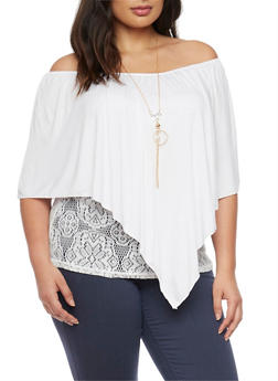 Plus Size Off the Shoulder Popover Lace Top with Necklace - 1912058932030