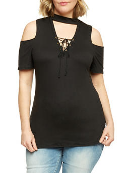Plus Size Cold Shoulder Top with Lace Up Choker Keyhole - BLACK - 1912058932081