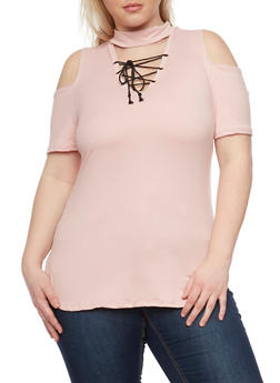 Plus Size Cold Shoulder Top with Lace Up Choker Keyhole - MAUVE - 1912058932081